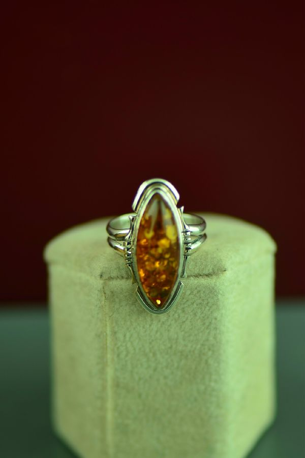 Amber Native American Ring Size 6