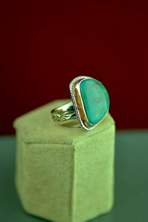 Navajo Turquoise Mountain Turquoise Sterling Silver Ring Size 7
