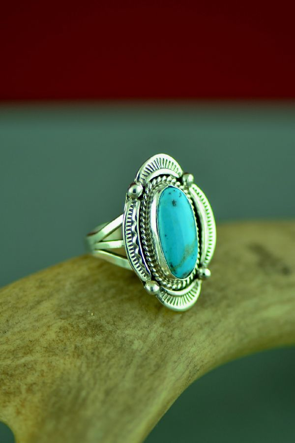 Native American Ladies Bisbee Turquoise Ring