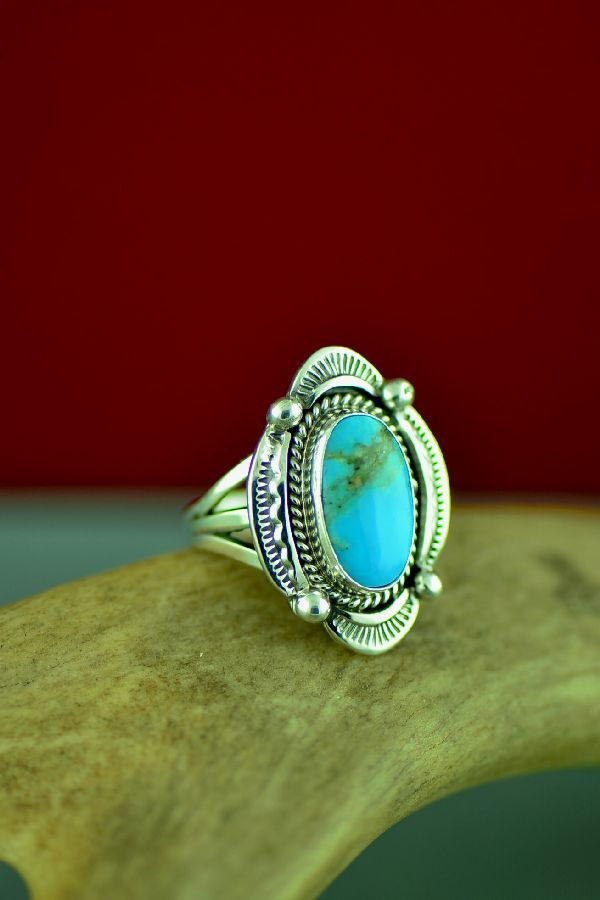 Navajo Sterling Silver Blue Gem Turquoise Ring by Will Denetdale Size 5