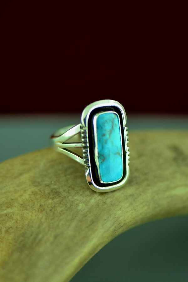 Navajo Sterling Silver Bisbee Turquoise Ring by Will Denetdale Size 6