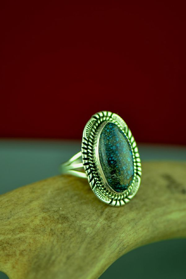 Navajo Sterling Silver Bisbee Turquoise Ring by Will Denetdale Size 6 3/4
