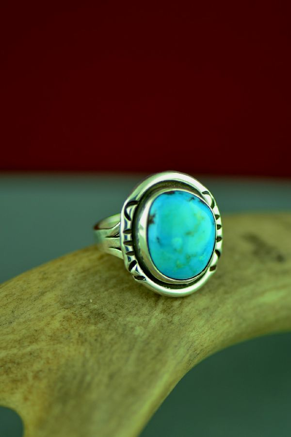 Navajo Sterling Silver Blue Gem Turquoise Ring by Will Denetdale Size 6 1/4
