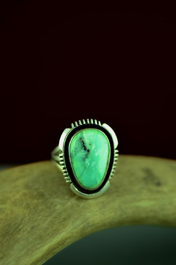 Navajo Sterling Silver Apache Turquoise Ring by Will Denetdale Size 7