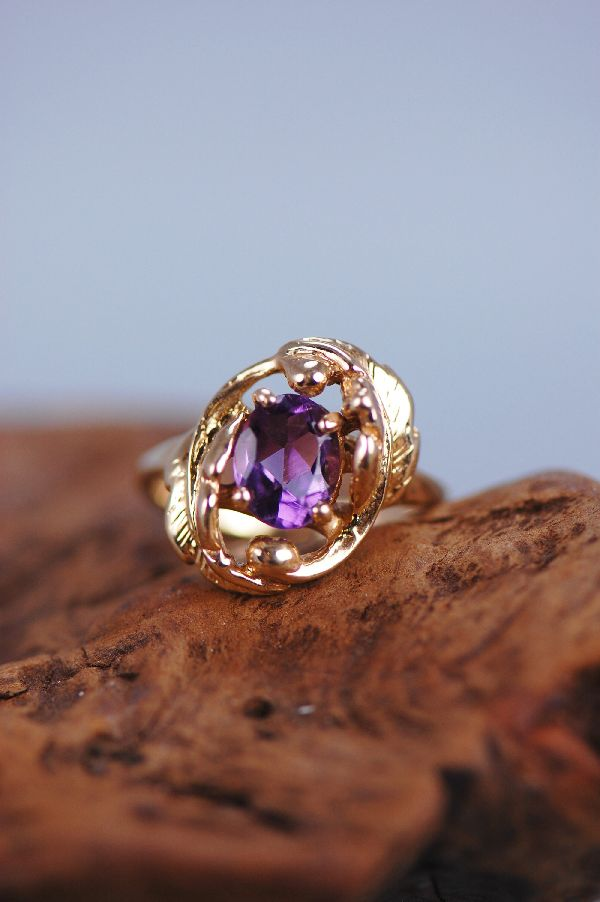 Cherokee – Ladies 14KT Natural Brazilian Amethyst Ring Size 6 1/2