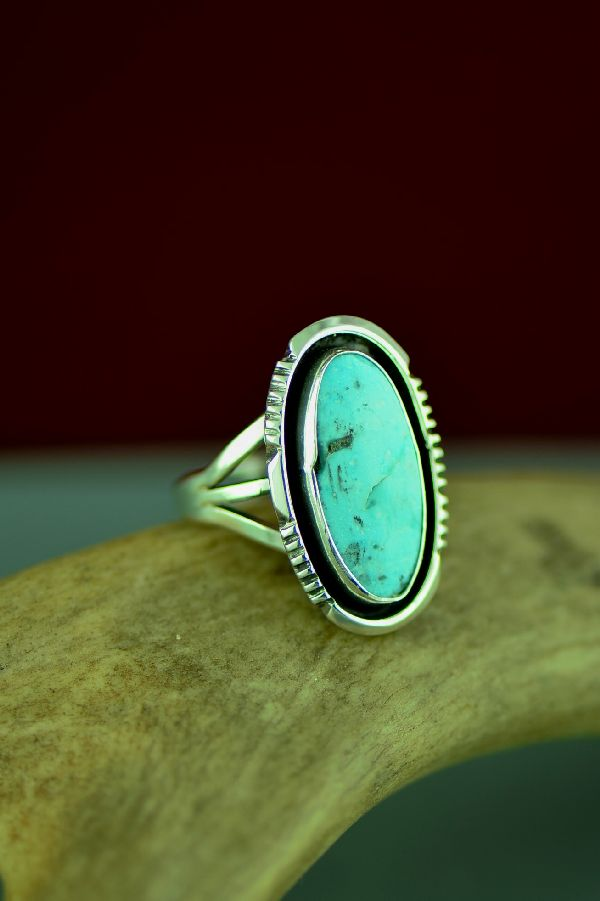 Navajo Sterling Silver Dry Creek Turquoise Ring  by Will Denetdale Size 7