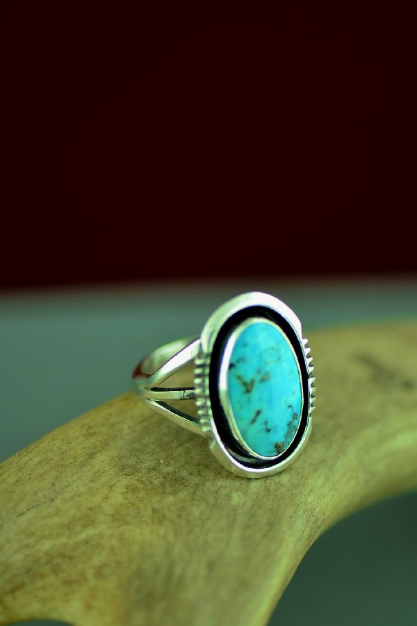 Kingman Turquoise Navajo Sterling Silver Ring by Will Denetdale Size 7