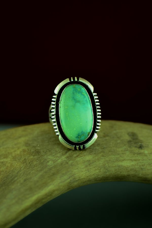 Navajo Sterling Silver Ajax Turquoise Ring by Will Denetdale Size 6