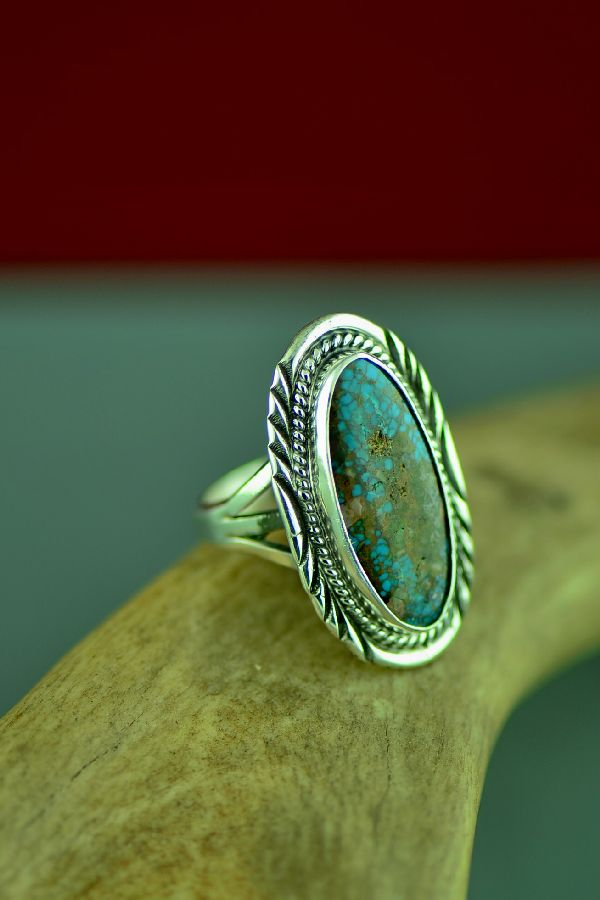 Will Denetdale Sterling Silver Bisbee Turquoise Ring Navajo Size 7