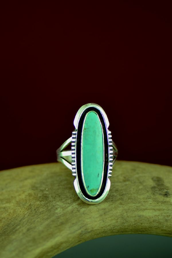 Navajo Sterling Silver Fox Turquoise Ring by Will Denetdale Size 6