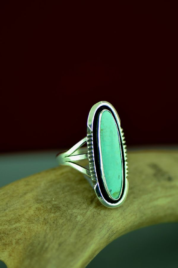 Navajo Sterling Silver Blue Gem Turquoise Ring by Will Denetdale Size 7