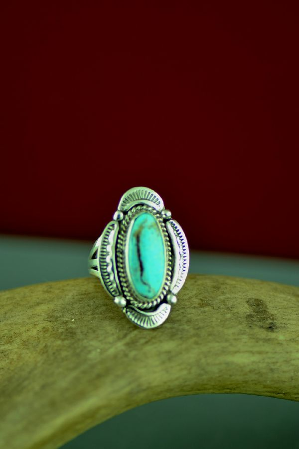 American Indian Kingman Turquoise Ring by Will Denetdale Size 5