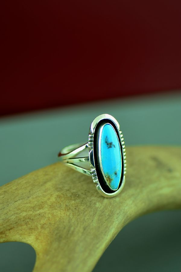 Navajo Sterling Silver Blue Gem Turquoise Ring by Will Denetdale Size 7 1/4