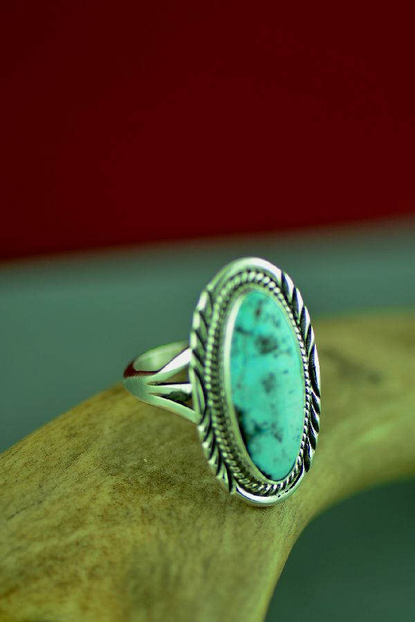 Will Denetdale Navajo Sterling Silver Dry Creek Turquoise Ring Size 9