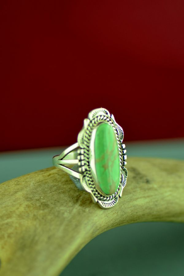 American Indian Ajax Turquoise Ring by Will Denetdale Size 9