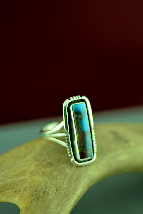 American Indian Sterling Silver Royston Turquoise Ring by Will Denetdale Size 9