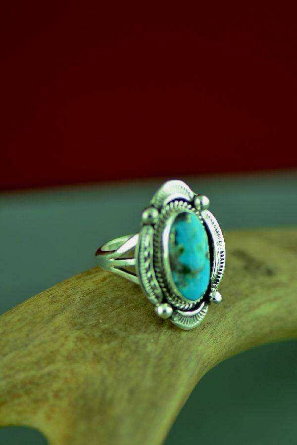 American Indian Kingman Turquoise Ring by Will Denetdale Size 7