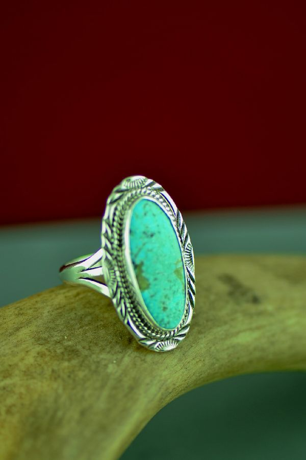 American Indian Dry Creek Turquoise Ring by Will Denetdale Size 9