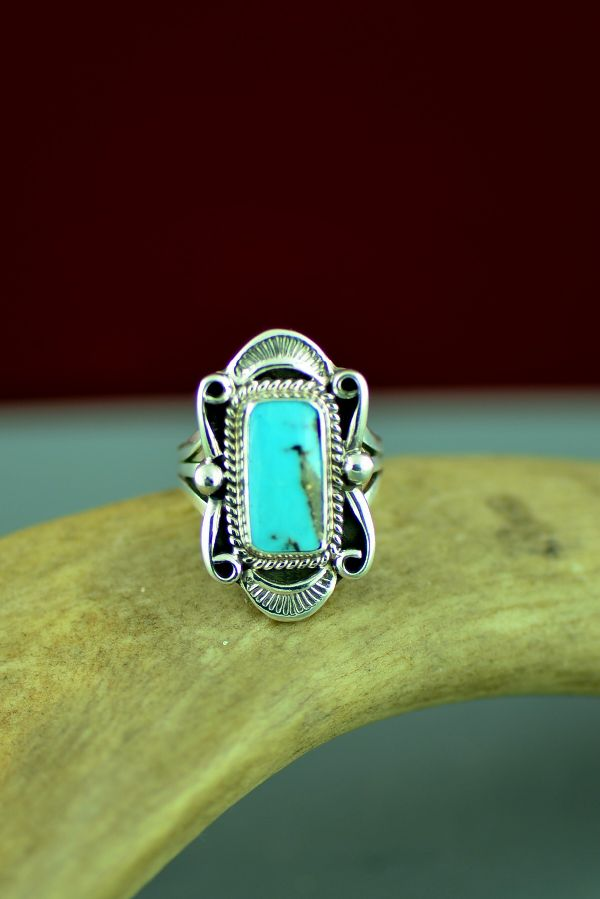 Bisbee American Indian Turquoise Ring by Will Denetdale Size 5