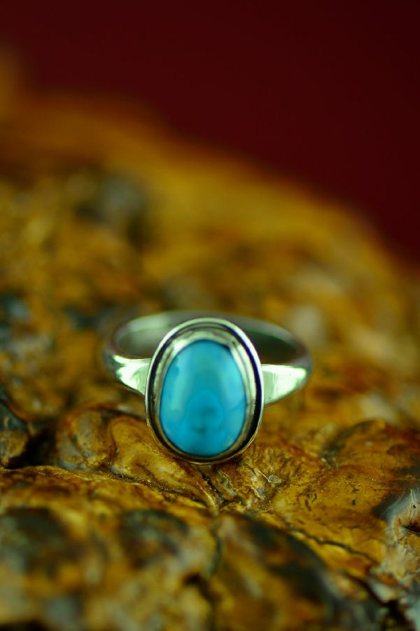 Sterling Silver Bisbee Turquoise Ring by Will Denetdale Size 5