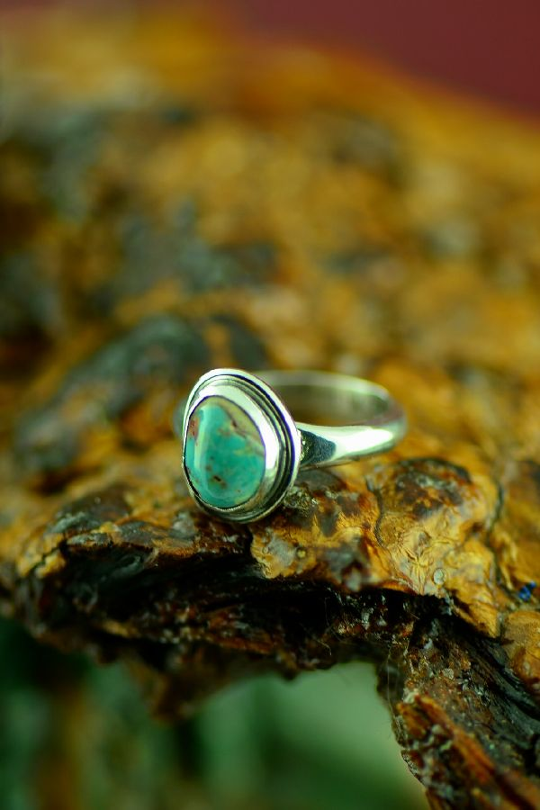 Will Denetdale Sterling Silver Bisbee Turquoise Ring Size 5