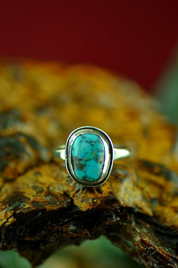 American Indian Bisbee Turquoise Ring by Will Denetdale Size 6