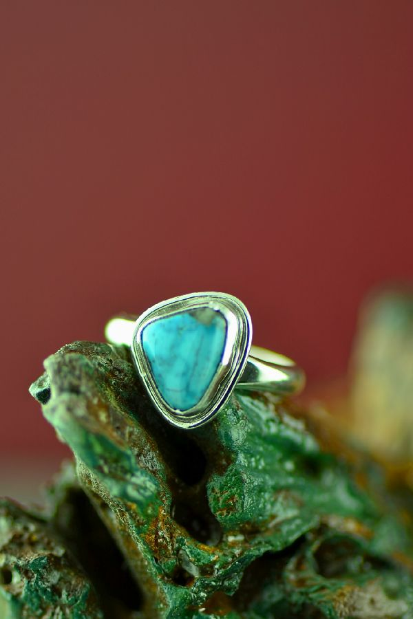Navajo Sterling Silver Bisbee Turquoise Ring by Will Denetdale Size 8