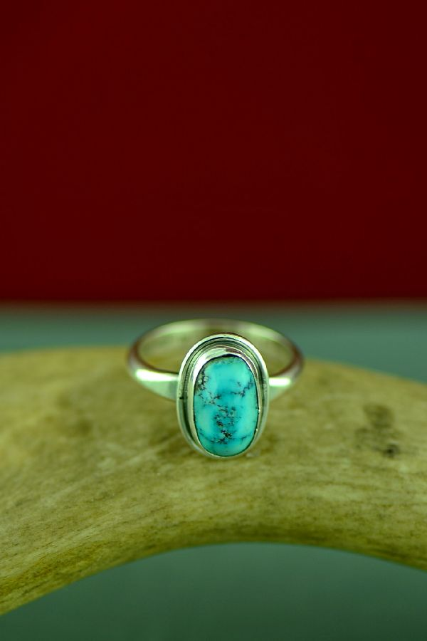 Navajo Bisbee Turquoise Ring by Will Denetdale Size 8