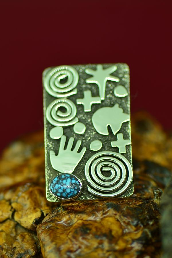 Zuni/Navajo Kingman Turquoise Petroglyph Ring by Award Winning Artist Alex Sanchez Size 9