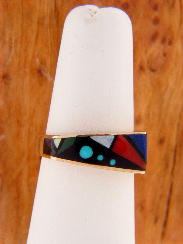 Navajo – 14KT Gold Multi-Stone Inlaid Ring Size 7 1/2