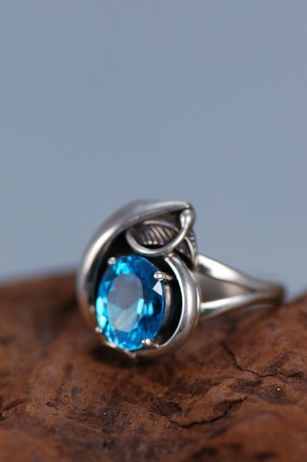Navajo –  Ladies Blue Topaz Sterling Silver Ring Size 8