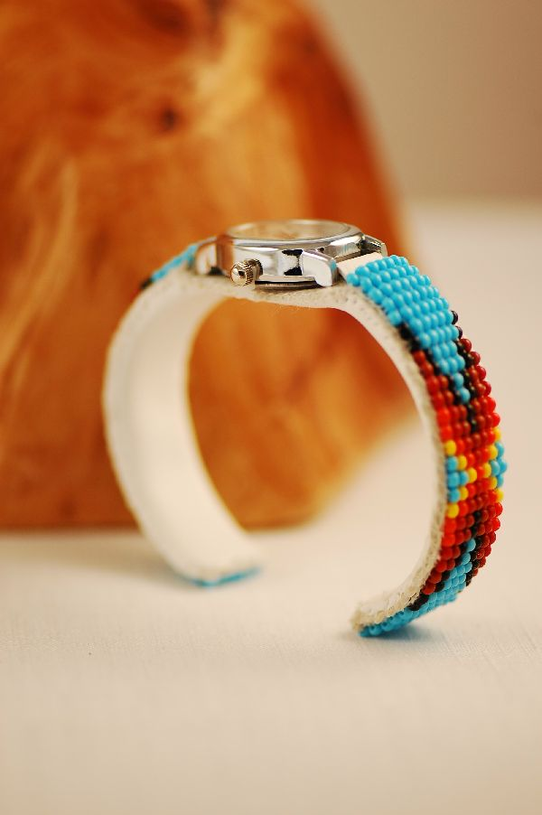 Navajo � Multi-Colored Seed Bead Watch Bracelet by Sylvia Spencer
