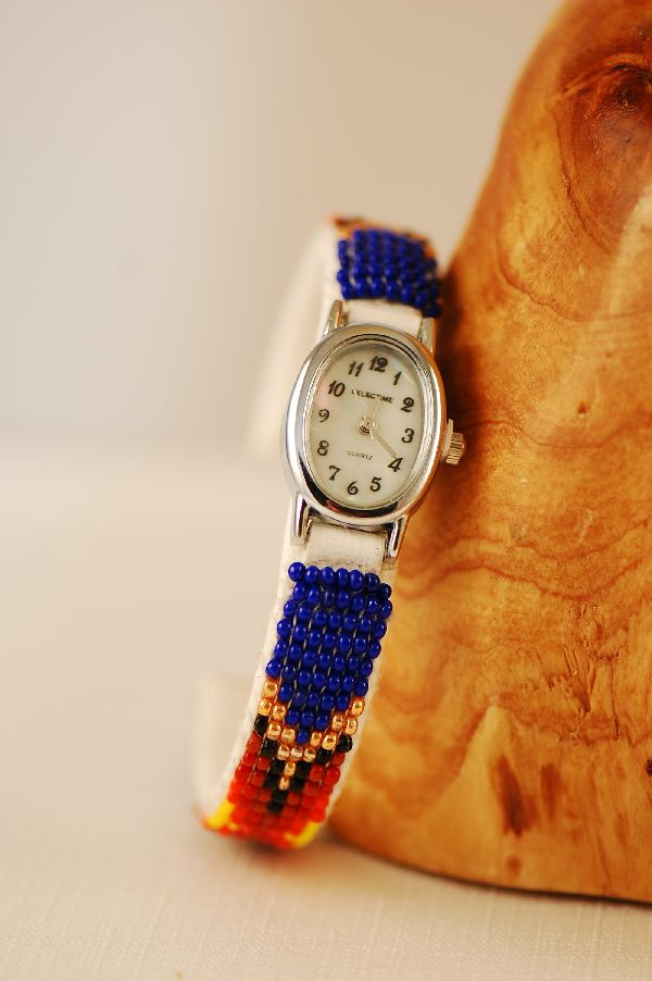 Navajo – Multi-Colored Seed Bead Watch Bracelet by Sylvia Spencer