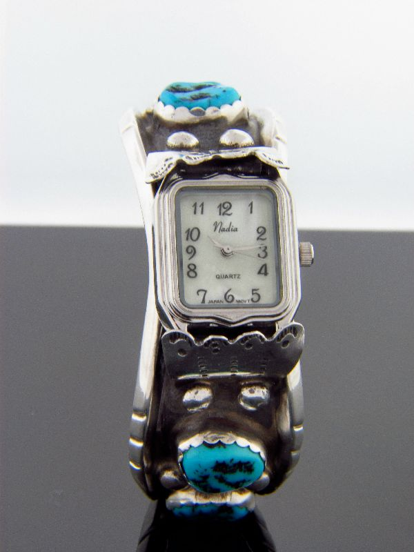Navajo – Sleeping Beauty Turquoise and Sterling Silver Watch Bracelet by Melinda Lucas