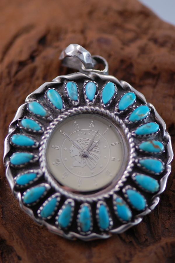 Navajo – Turquoise and Sterling Silver Watch Pendant by Leland Yazzie