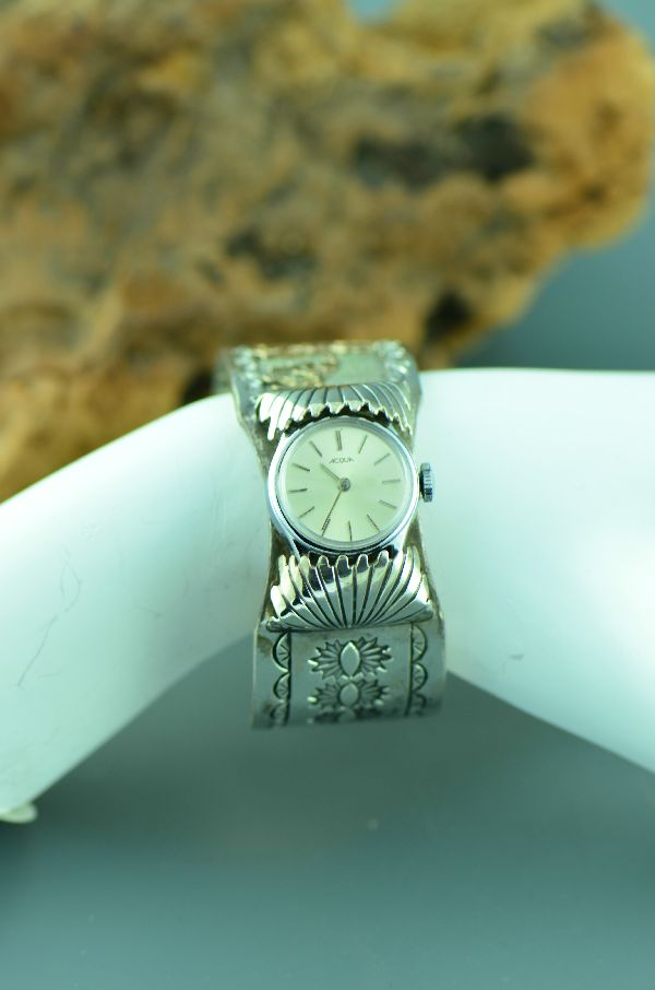 Navajo –12ktGF and Sterling Silver Kachina Watch Bracelet by Sampson Gray