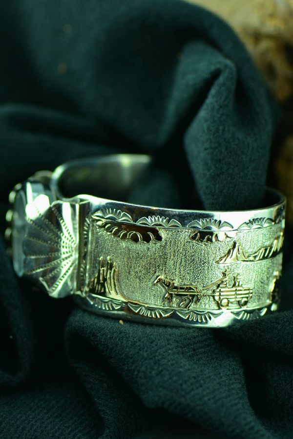 Navajo –12ktGF and Sterling Silver Story Watch Bracelet by Sampson Gray