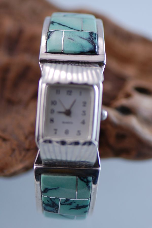 Navajo Sterling Silver Varasite Inlaid Watch Bracelet by the late Ben Touchine