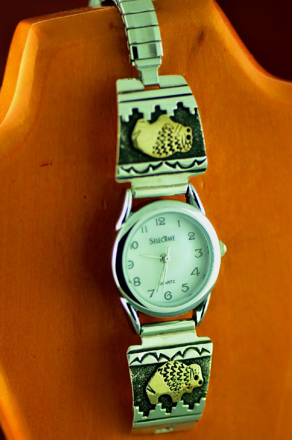 Navajo – 12ktGF and Sterling Silver Buffalo and Mountain Symbol Watch Tips by the Tommy and Rosita Singer