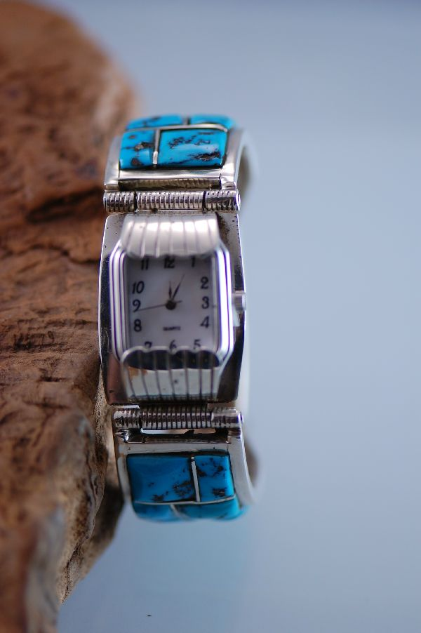 Navajo Sleeping Beauty Turquoise Inlaid Watch Bracelet by the late Ben Touchine