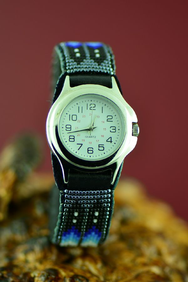 American Indian Beaded Watch Bracelet by Daniel Yazzie