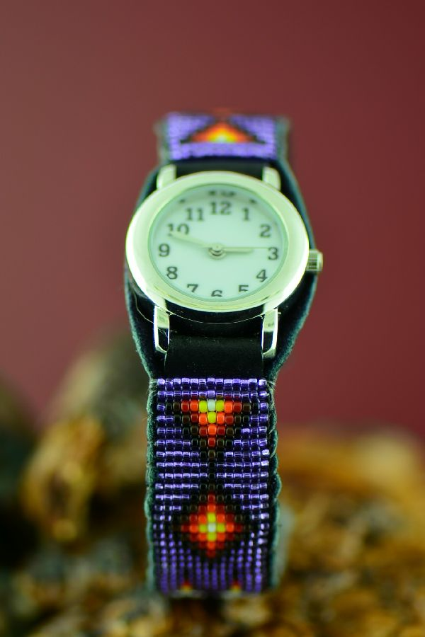 Native American Beaded Watch Bracelet by Daniel Yazzie
