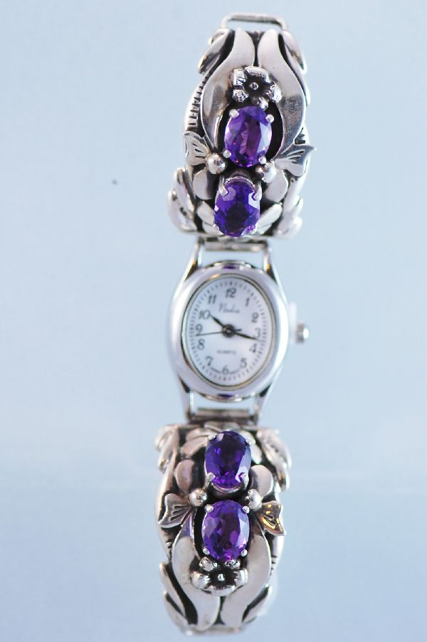 Les Baker Amethyst Sterling Silver Watch Tips