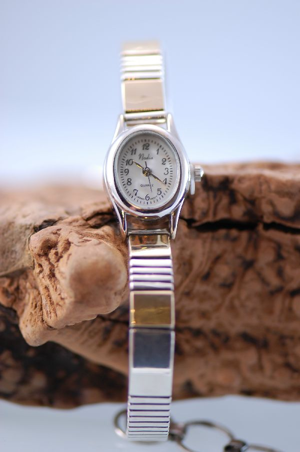 Gold and Silver Cuff Watch Bracelet
