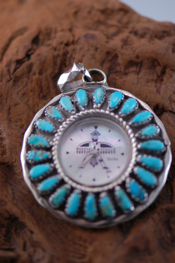 Navajo - Turquoise Sterling Silver Watch Pendant by Leland Yazzie