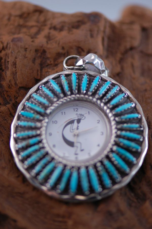 Navajo – Needle Point Turquoise Sterling Silver Watch Pendant by Leland Yazzie