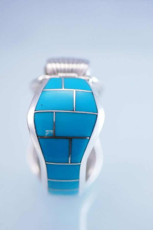 Ben Touchine Sleeping Beauty Turquoise Inlaid Watch Bracelet