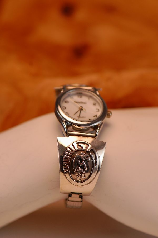 Navajo – Sterling Silver Kokopelli Watch Tips by Mark Yazzie
