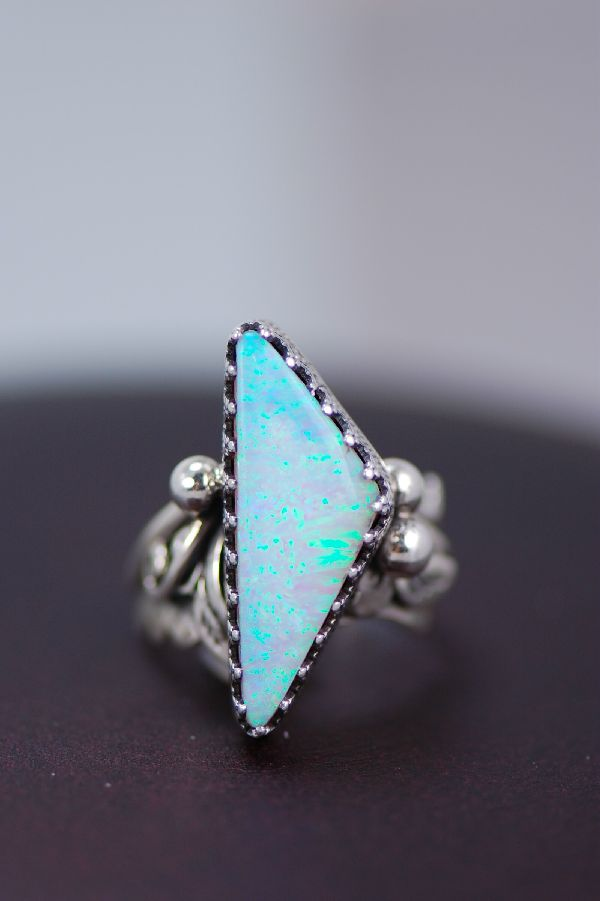 Navajo – Lab Opal and Sterling Silver Ring Size 5