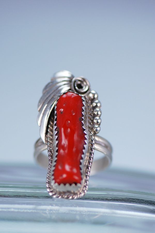 Navajo Sterling Silver Natural Branch Coral Ring